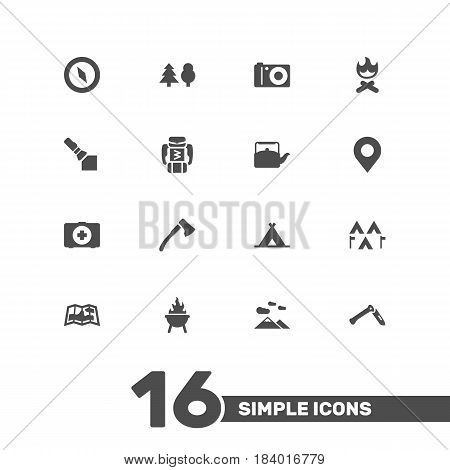 Set Of 16 Camping Icons Set.Collection Of Kettle, Campfire, Wood Axe And Other Elements.