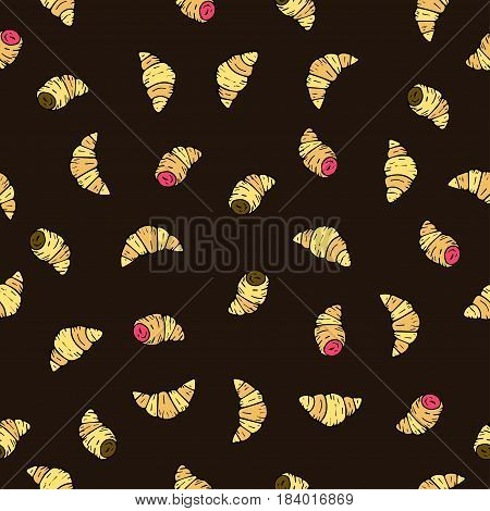 Seamless vector pattern with doodle hand drawn donuts. Color illustration of cute desserts.