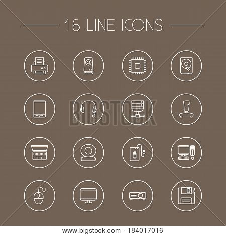 Set Of 16 Laptop Outline Icons Set.Collection Of Headphone, Floppy, Printer And Other Elements.