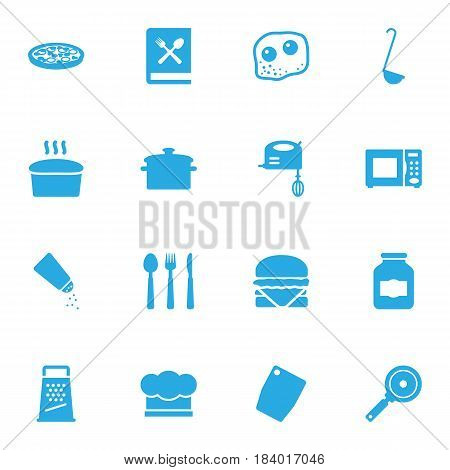 Set Of 16 Kitchen Icons Set.Collection Of Jar , Sandwich, Silverware Elements.