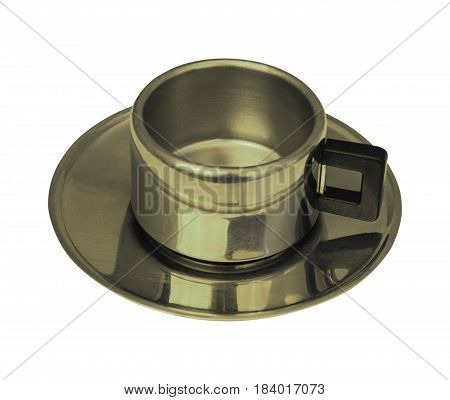 cup of metal isolated on white background