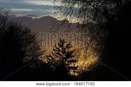 Beautiful sunset glowing beneath an approaching stormfront outdoors camping and weather concept