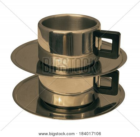 two cup of metal isolated on white background
