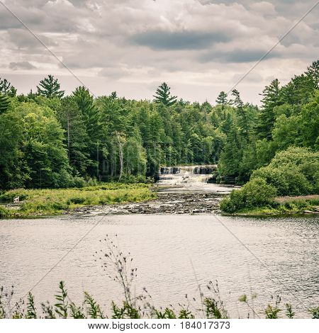 Scenic view of lower Tahquamenon Falls on Upper Peninsula, Michigan