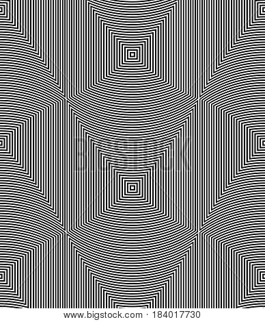 Optical Illusion Art Abstract Background. Black And White Monochrome Geometrical Hypnotic Seamless P