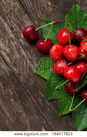 Cherries summer fruits with leaves freshly pickedView from above with copy space