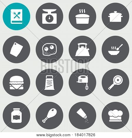 Set Of 16 Cooking Icons Set.Collection Of Weighing Machine, Saltshaker, Chef Cap And Other Elements.