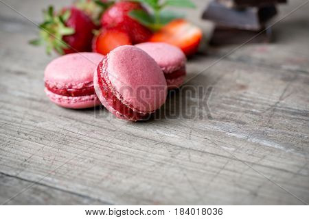 sweet red french macaron and strawberry
