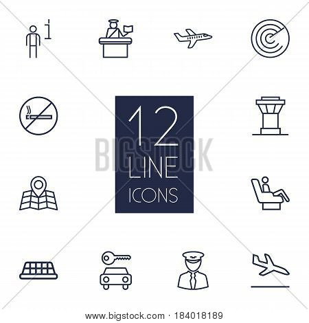 Set Of 12 Land Outline Icons Set.Collection Of Taxi, Map, Data And Other Elements.