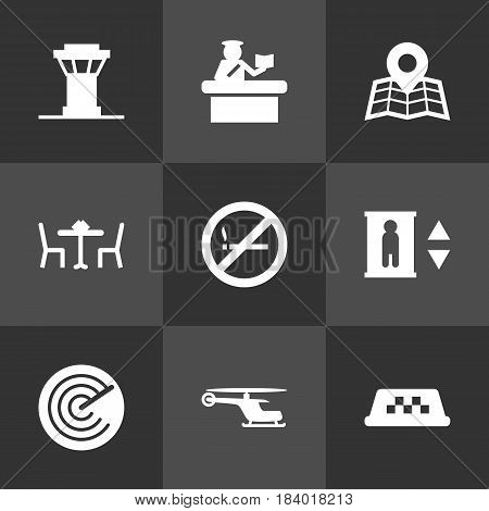 Set Of 9 Aircraft Icons Set.Collection Of Radiolocator, Chopper, Location And Other Elements.