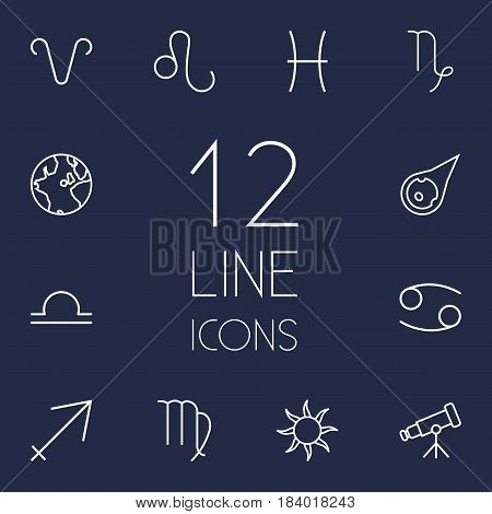 Set Of 12 Galaxy Outline Icons Set.Collection Of Asteroid, Sagittarius, Sun And Other Elements.