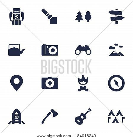 Set Of 16 Adventure Icons Set.Collection Of Camp, First Aid Box, Flashlight And Other Elements.
