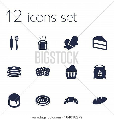 Set Of 12 Stove Icons Set.Collection Of Wafer, Slice Bread, Dessert And Other Elements.