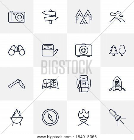 Set Of 16 Picnic Outline Icons Set.Collection Of Pocket Torch, Photographing, Rubber Boat And Other Elements.