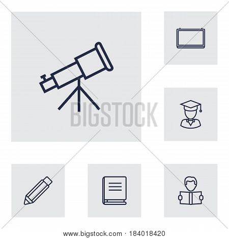 Set Of 6 Education Outline Icons Set.Collection Of Telescope, Pencil, Learning And Other Elements.
