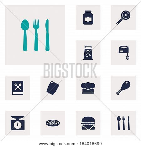 Set Of 12 Kitchen Icons Set.Collection Of Silverware, Jar, Kitchen Rasp And Other Elements.