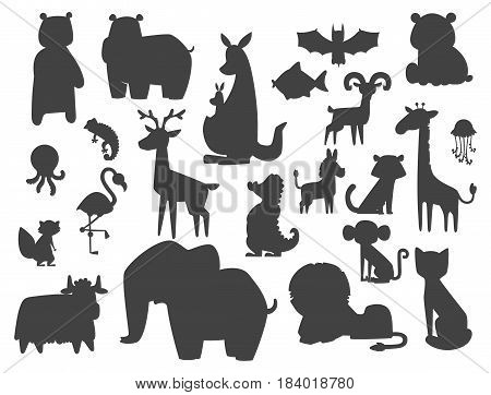 Cute zoo cartoon silhouette animals isolated funny wildlife learn cute language and tropical nature safari mammal jungle tall characters vector illustration. Nature wild study africa savanna.