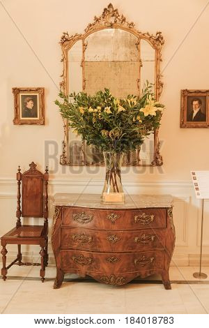 Athens Greece - September 27 2015: An exhibition of antique furniture in the Benaki Museum