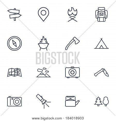 Set Of 16 Outdoor Outline Icons Set.Collection Of Place Pointer, Grill, Bonfire And Other Elements.