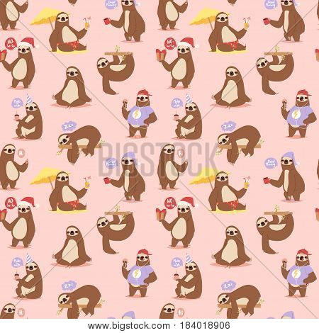 Laziness sloth animal character different pose like human cute lazy cartoon kawaii and slow down wild jungle mammal flat design vector illustration. Seamless pattern vector