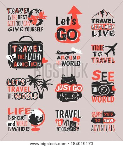 Vintage typography travel motivation bage adventure vector set. Adventure poster emblem travel motivation badge lettering element. Travel motivation badge typography label concept.