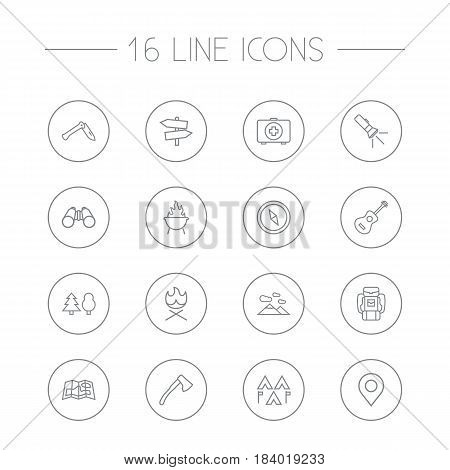 Set Of 16 Picnic Outline Icons Set.Collection Of Pocket Torch, Bonfire, Place Pointer And Other Elements.