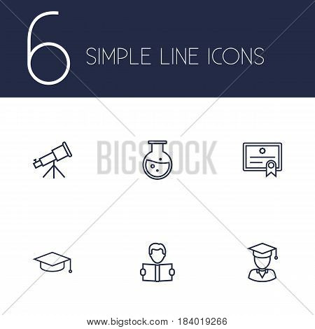 Set Of 6 Science Outline Icons Set.Collection Of Learning, Graduated, Test Tube And Other Elements.