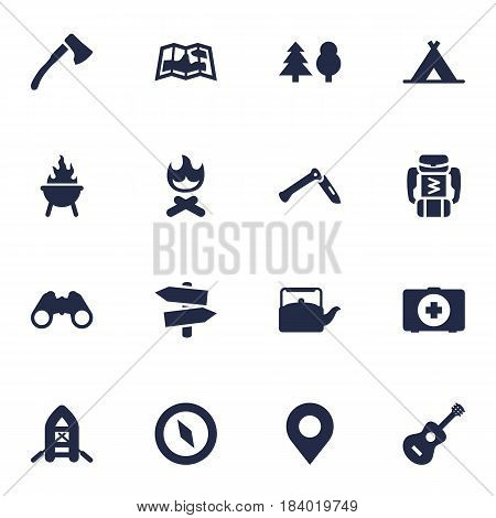 Set Of 16 Camping Icons Set.Collection Of Campfire, Magnet Navigatior, Optical Zoom And Other Elements.