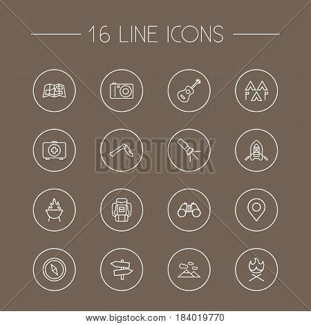 Set Of 16 Outdoor Outline Icons Set.Collection Of Medical Kit, Pocket Torch, Place Pointer And Other Elements.