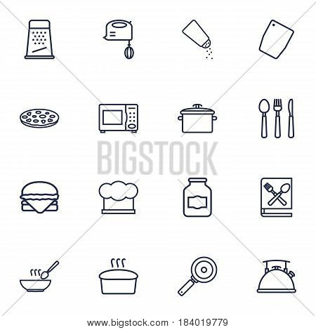Set Of 16 Cooking Outline Icons Set.Collection Of Skillet, Grater, Microwave And Other Elements.