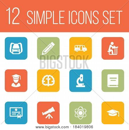 Set Of 12 Education Icons Set.Collection Of Drawing Tool, Diplomaed Male, School Autobus And Other Elements.
