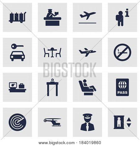 Set Of 16 Land Icons Set.Collection Of Restaurant, Chopper, Leaving And Other Elements.