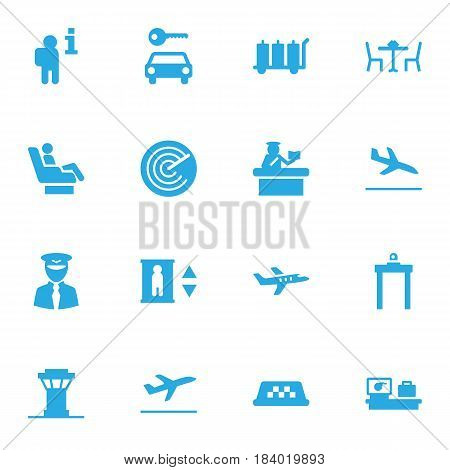 Set Of 16 Airplane Icons Set.Collection Of Data, Automobile, Leaving And Other Elements.