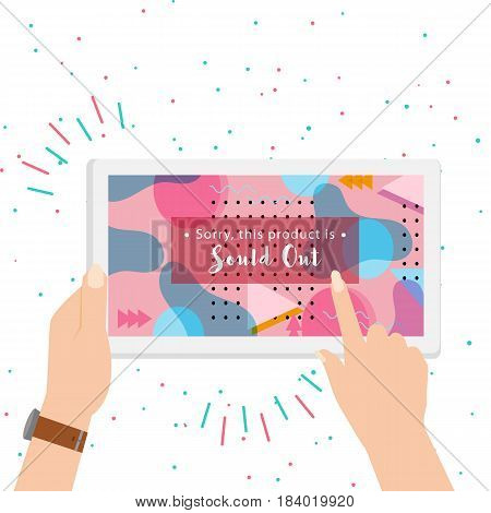 sold out on screen colorful background vector illustration. hand holding gadget online transaction
