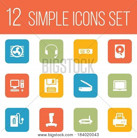 Set Of 12 Notebook Icons Set.Collection Of Peripheral, Joystick, Photocopy And Other Elements.