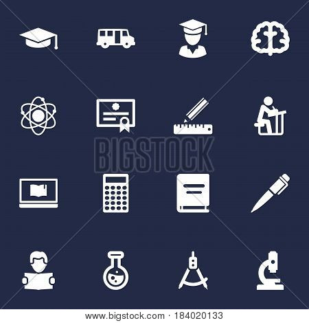 Set Of 16 Science Icons Set.Collection Of Molecule, Flask, Calculate And Other Elements.