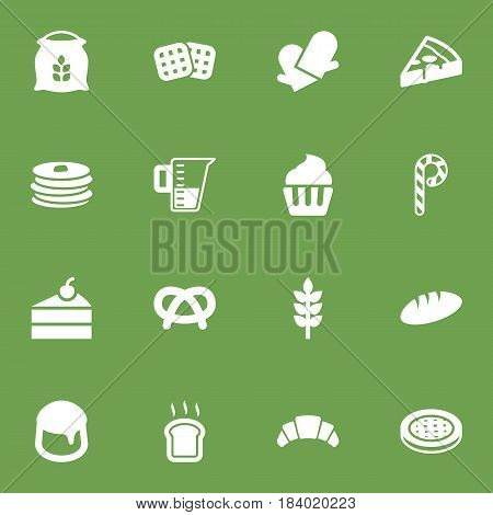 Set Of 16 Bakery Icons Set.Collection Of Crepe, Wafer, Cake And Other Elements.