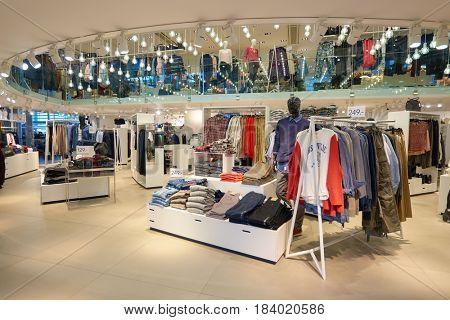 COPENHAGEN, DENMARK  - CIRCA SEPTEMBER, 2014: inside H & M store at Copenhagen Airport, Kastrup.