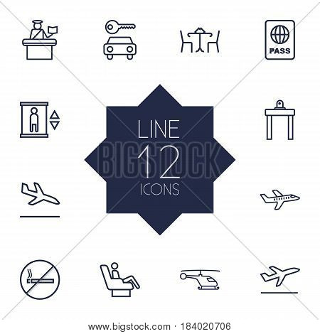 Set Of 12 Aircraft Outline Icons Set.Collection Of Car Rent, Elevator, Plane And Other Elements.