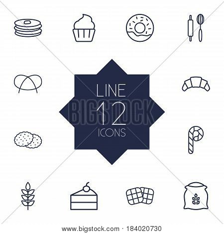 Set Of 12 Bakery Outline Icons Set.Collection Of Wheat, Pretzel, Croissant And Other Elements.