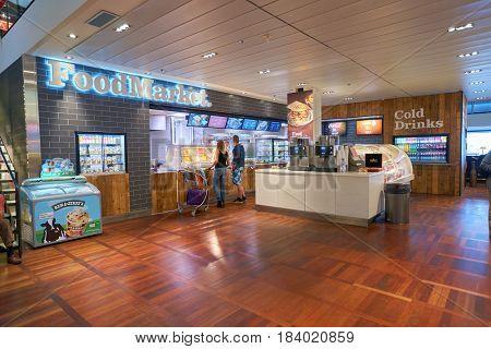 COPENHAGEN, DENMARK  - CIRCA SEPTEMBER, 2014: FoodMarket at Copenhagen Airport, Kastrup.