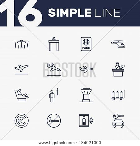 Set Of 16 Aircraft Outline Icons Set.Collection Of Sit, Detection, Certification And Other Elements.
