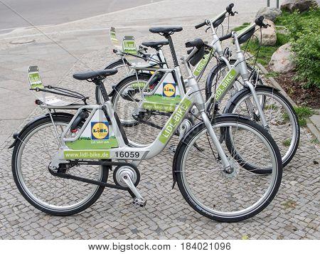BERLIN GERMANY - APRIL 29 2017: Lidl Bikes At The Roadside In Berlin