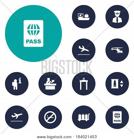 Set Of 12 Land Icons Set.Collection Of Chopper, Lift, Security And Other Elements.