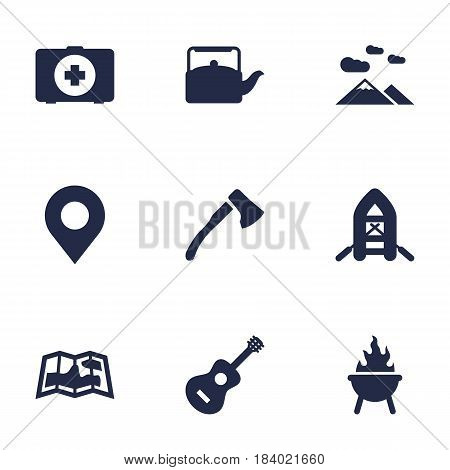 Set Of 9 Outdoor Icons Set.Collection Of Inflatable Raft, Acoustic, Landscape Elements.