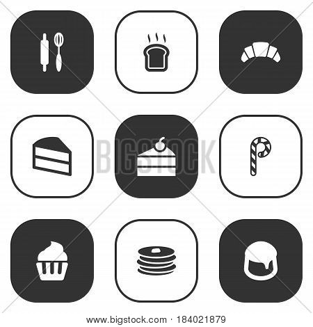 Set Of 9 Oven Icons Set.Collection Of Dessert, Striped Lollipop, Sweetmeat And Other Elements.