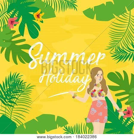 Summer holiday flat icons with lettering. Vector illustration of leaf flower and girl