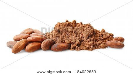 Aromatic cocoa powder and beans on white background