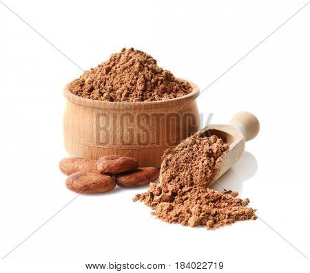 Bowl with aromatic cocoa powder on white background