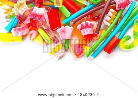 Colorful jelly candies on white background